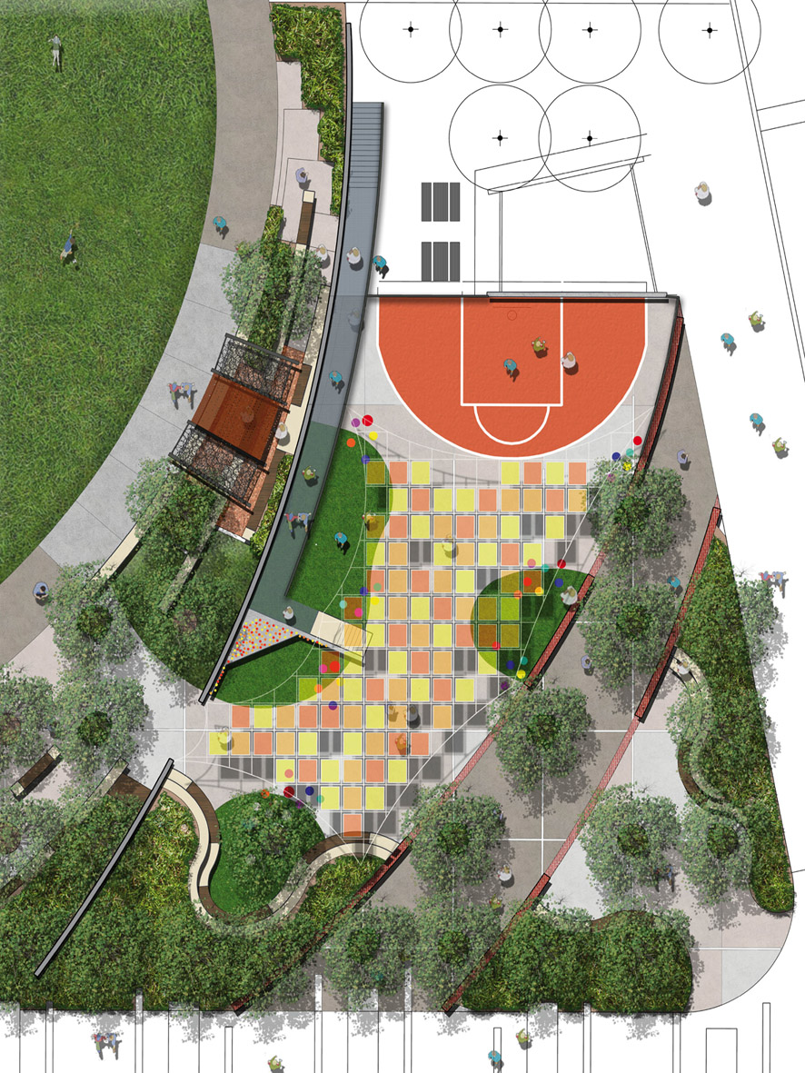 A birds eye view of the new youth space coming to New Junction as part of Stage 1 Midland Park