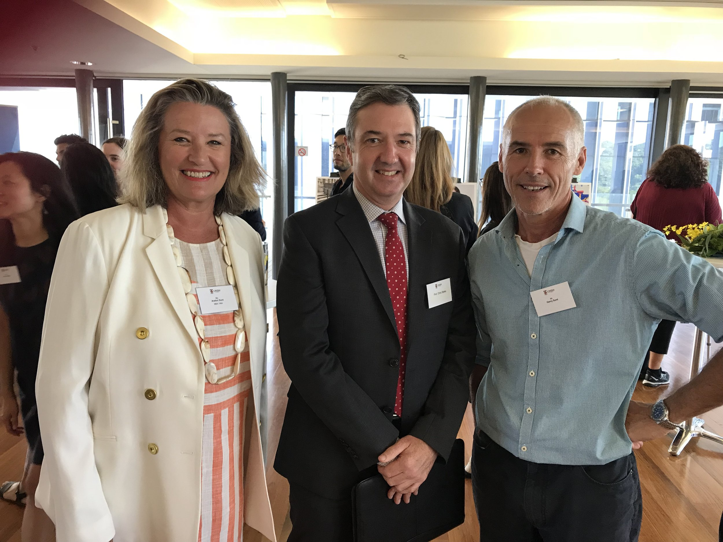 Left to right: Arahni Sont - Centro ASSIST, Professor Chris Styles - Dean UNSW Business School, Gerry Sont - Adjunct faculty AGSM/Corporate Trainer