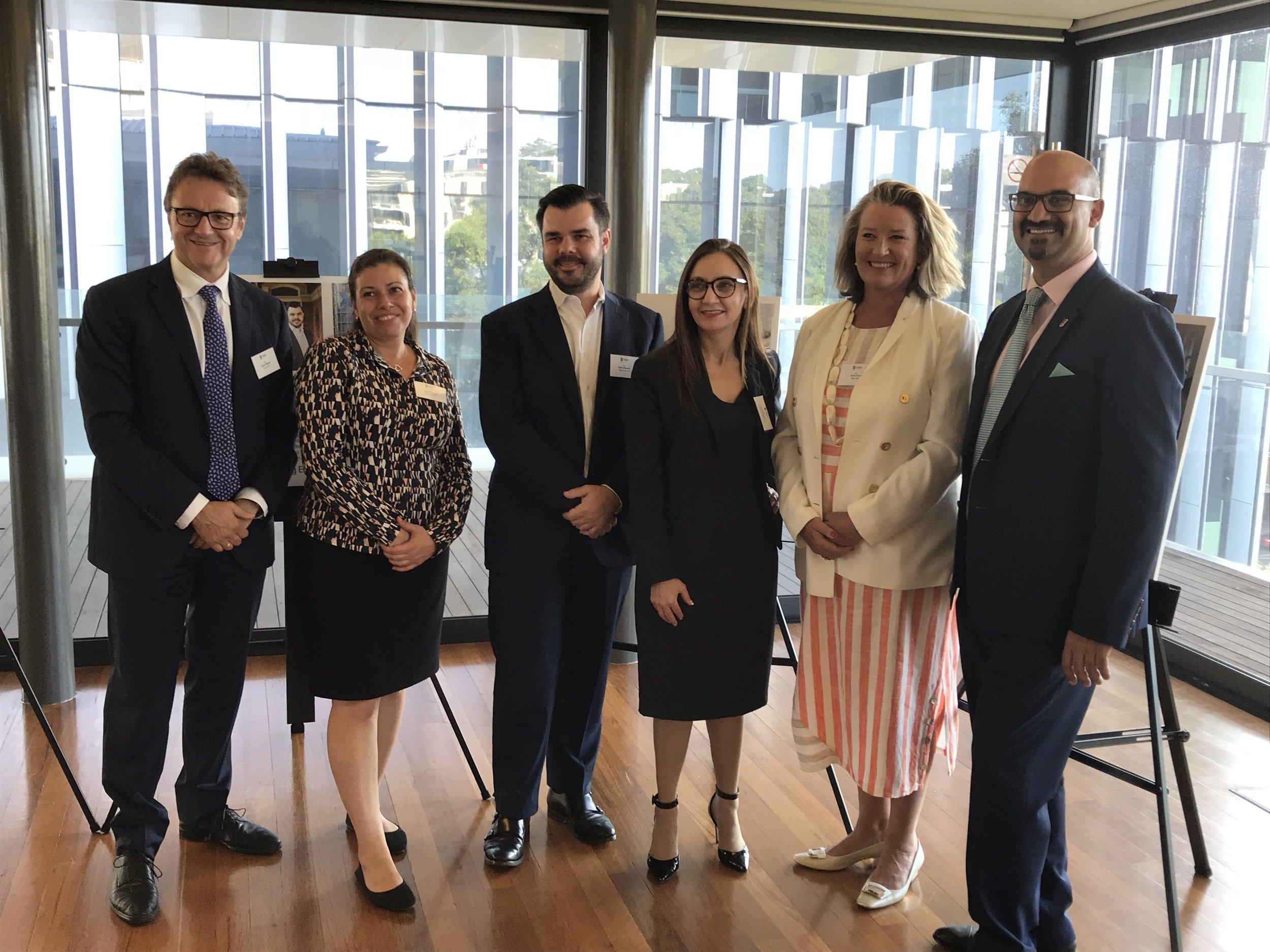 Left to right: James Stevens - Founder Roses Only, Leanne Howard - Business partner UNSW, Danny Kapustin - CEO Foresight, Julie-Anne Mizzi - AMP, Arahni Sont - Centro ASSIST, Lali Wiratunga - Westpac's Davidson Institute