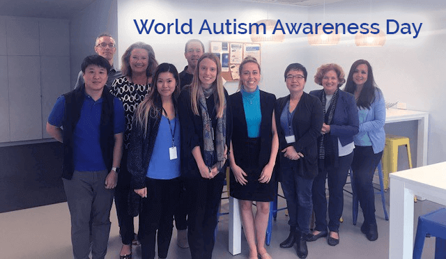 The Centro ASSIST Team dressed in blue to support World Autism Awareness Day