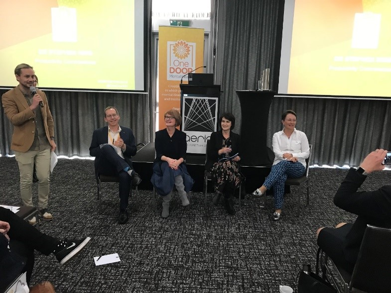Panel discussion: Lucy Brogden, Chair of the National Mental Health Commission, Carmel Tebbutt, CEO Mental Health Coordinating Council (MHCC) and Catherine Lourey, NSW Mental Health Commissioner