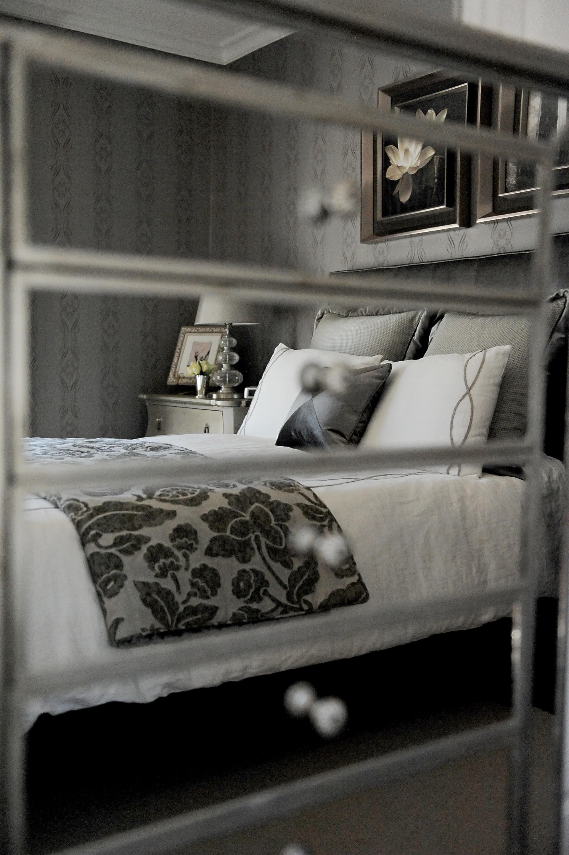 Master's bedroom with cool gray furnishing