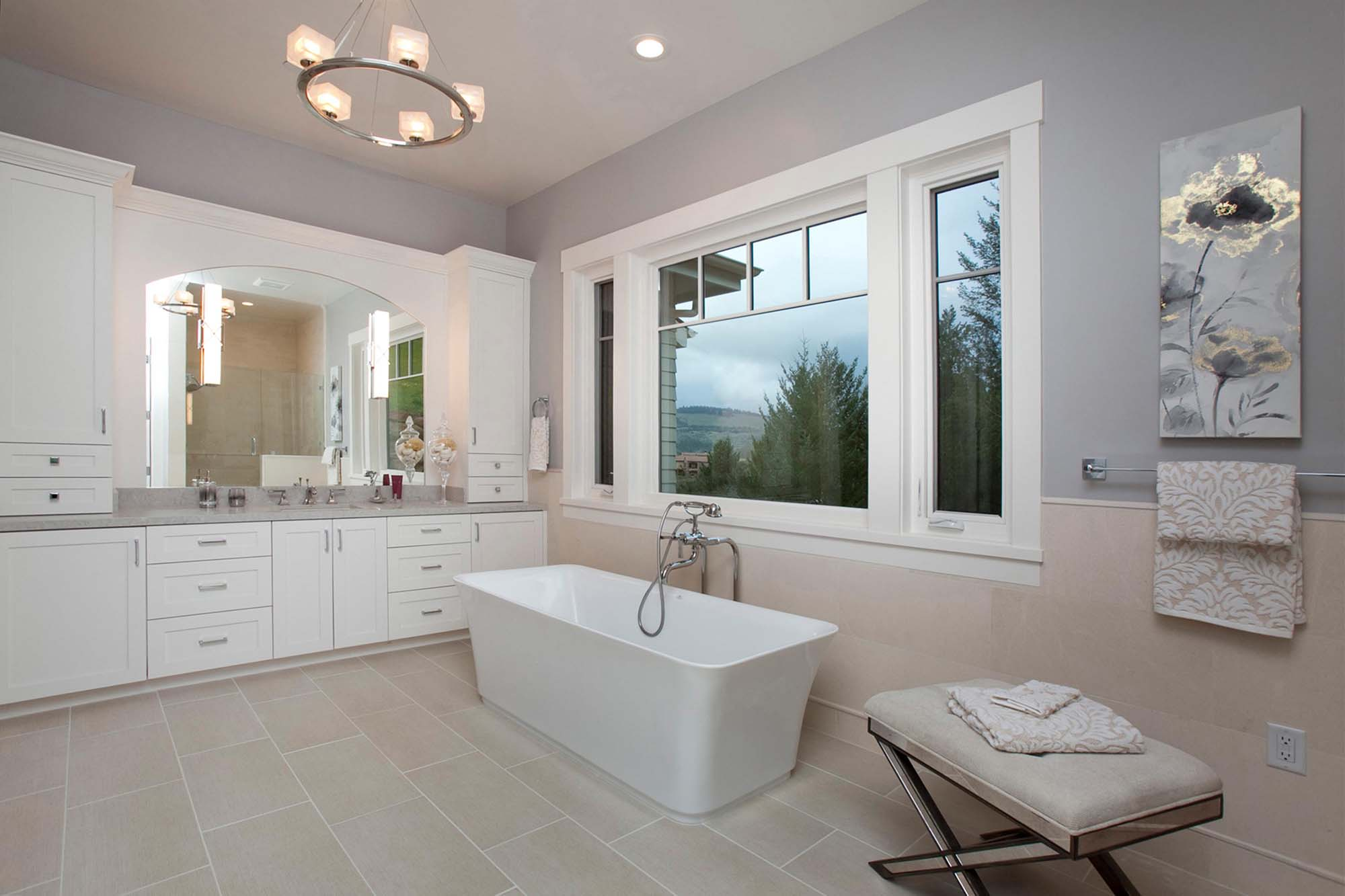 Modern bathroom with cabinet and mirror
