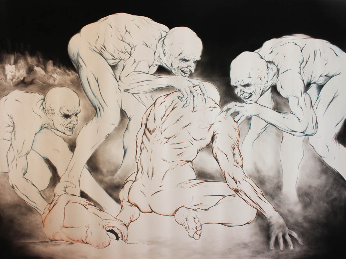 Placebo Singers. Charcoal, graphite, and colour pencils on arches archival paper, 36 x 48 inches. Art No. 12282.