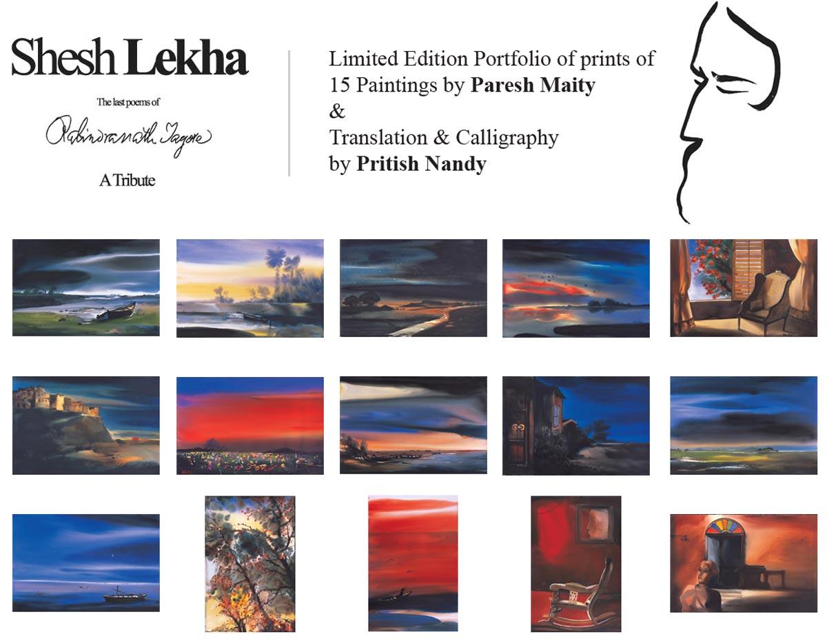 Shesh Lekha. Limited edition portfolio. Prints of Paresh Maity and translation and calligraphy by Pritish Nandy.