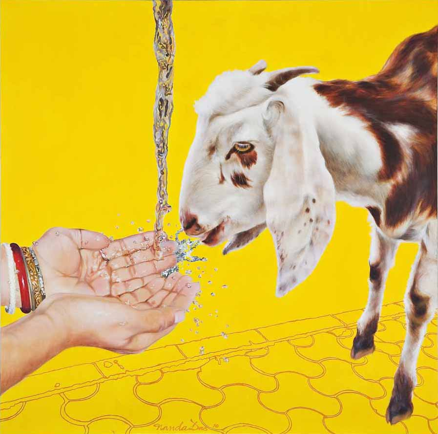 Tahaan (Thirst). Arcylic on canvas, 54 x 54 inches. Art No. 8718.