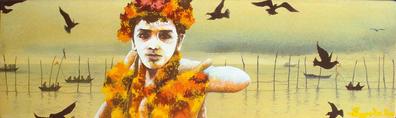 Yaatri - 2. Acrylic on canvas, 7 x 24 inches, 2013. Art No. 11315.
