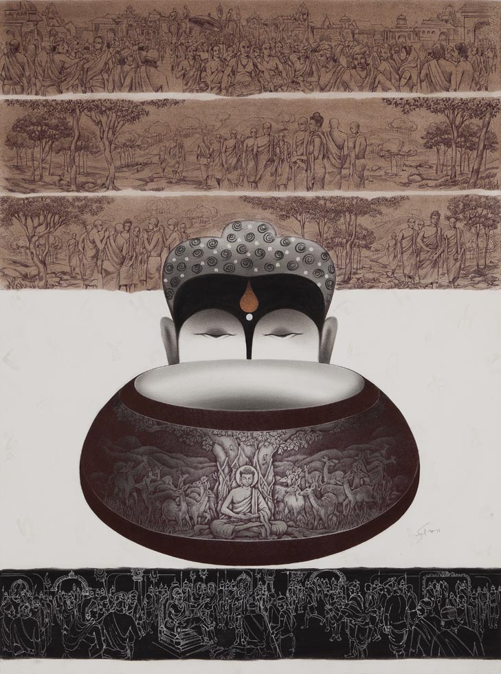 Buddha and Alm Pot - 1. Mixed media on archival paper, 40.5 x 29 inches, 2012. Art No. 11025