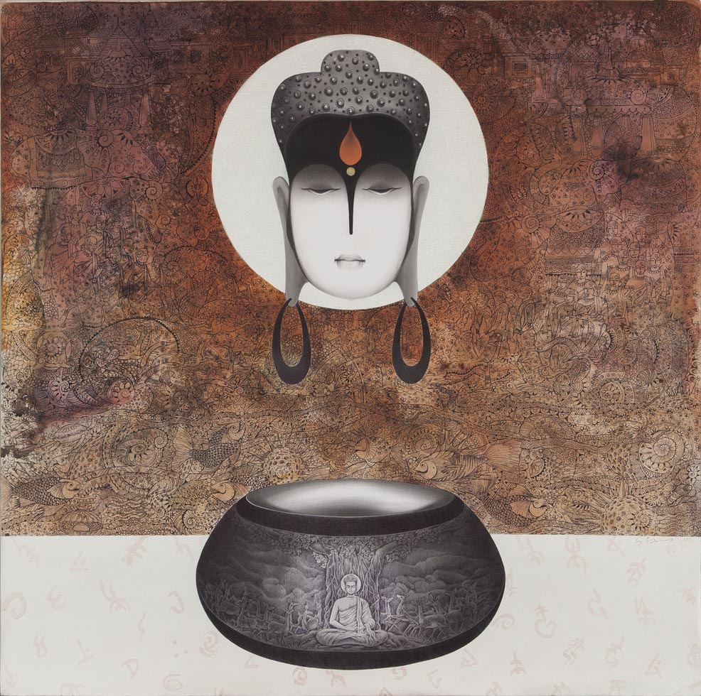 Buddha and Alm Pot - 2. Mixed media on canvas, 48 x 48 inches, 2012. Art No. 11030.