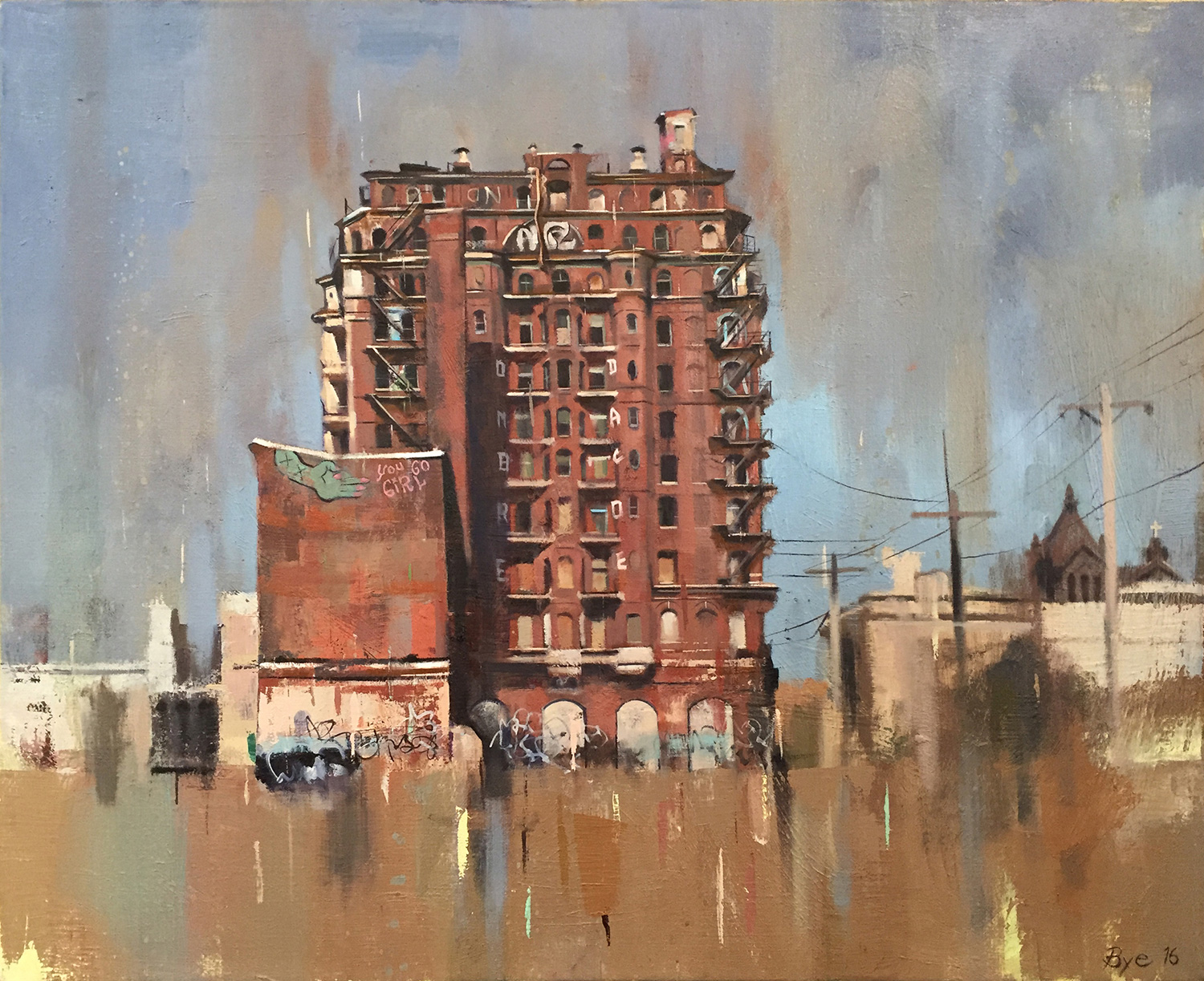 "You Go Girl (Divine Lorraine Hotel), Oil on Canvas (28"" x 35"")"