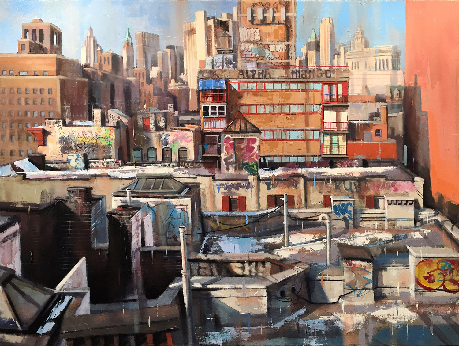 "Alpha (Manhattan Roof Top), Oil on Canvas (30"" x 40"")"