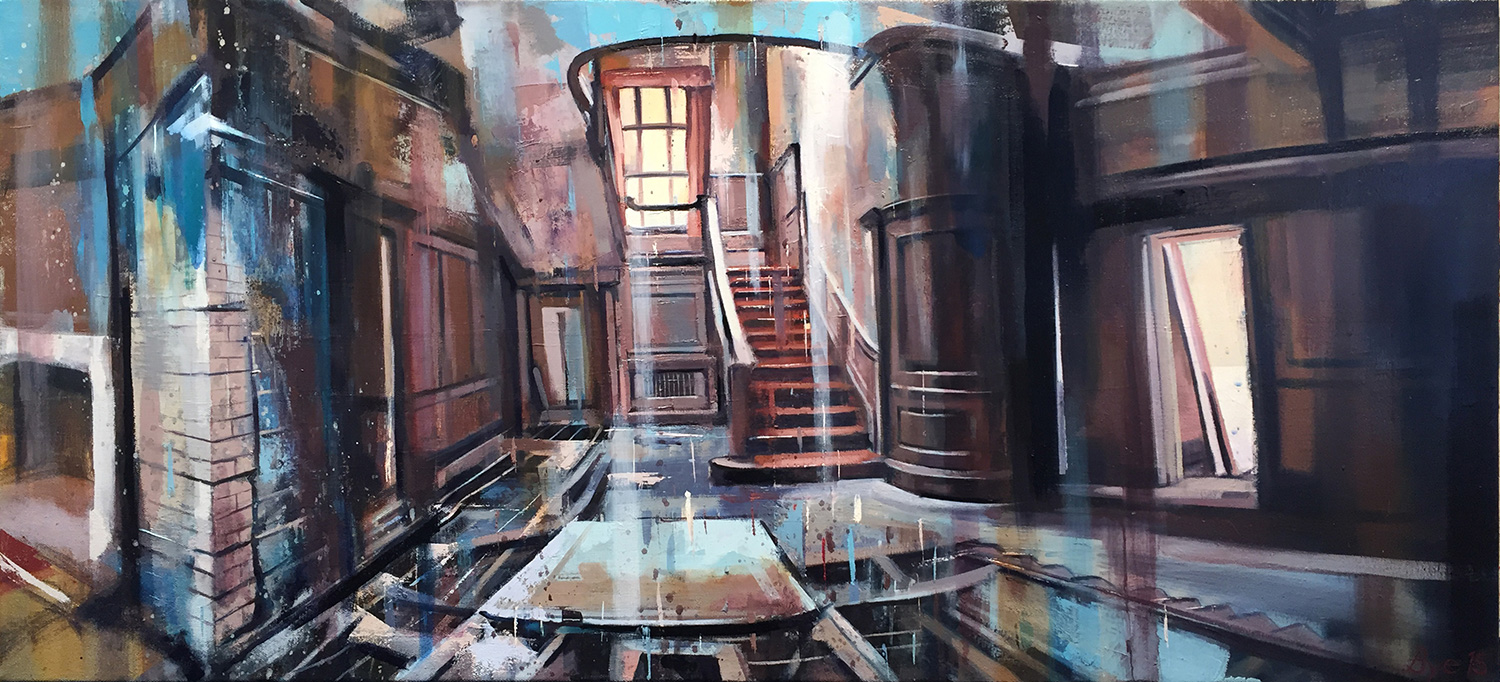 "Manor, Oil on Canvas (18"" x 40"")"