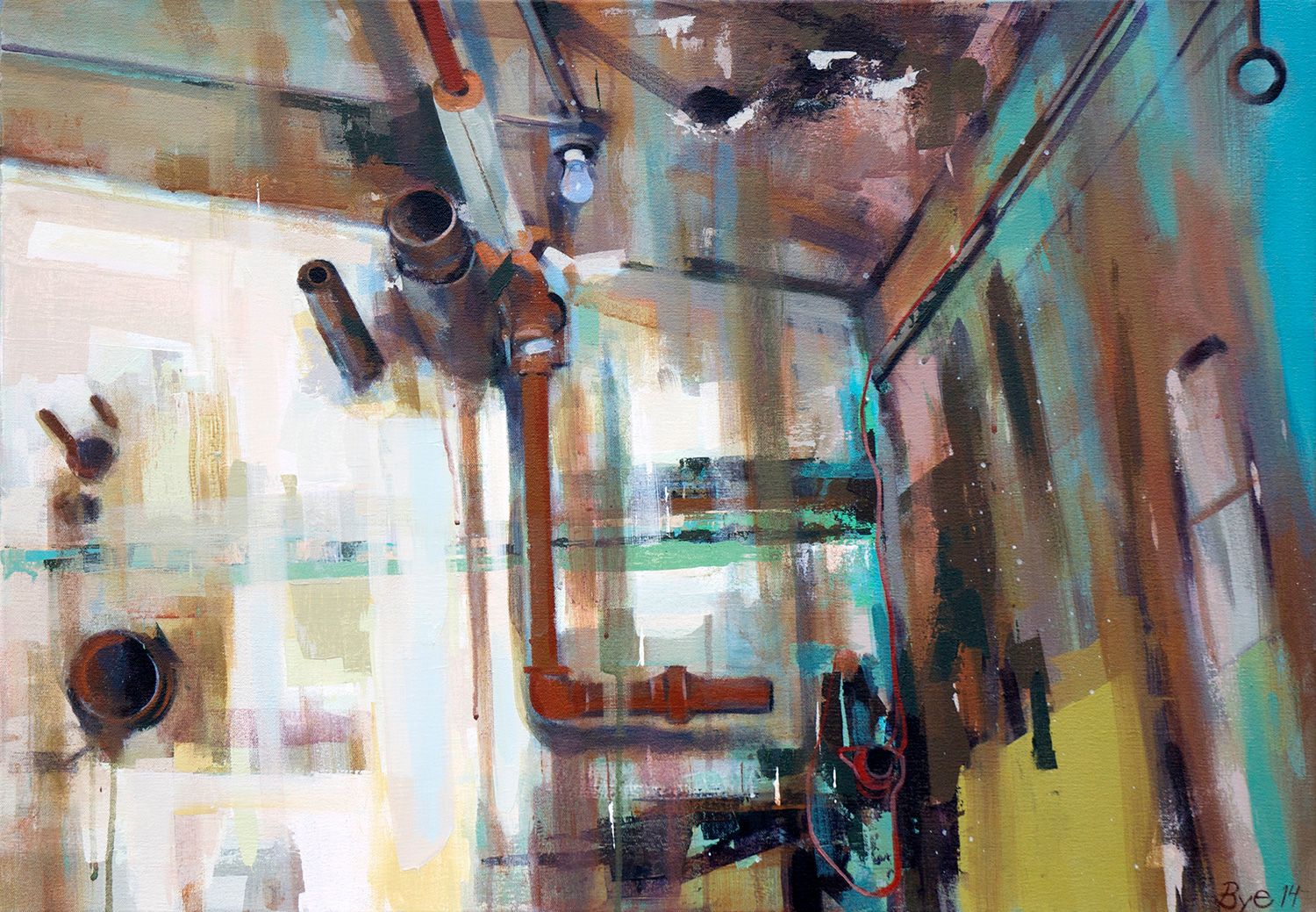 "Inside Domino Sugar Factory, Acrylic on Canvas (30"" x 42"")"