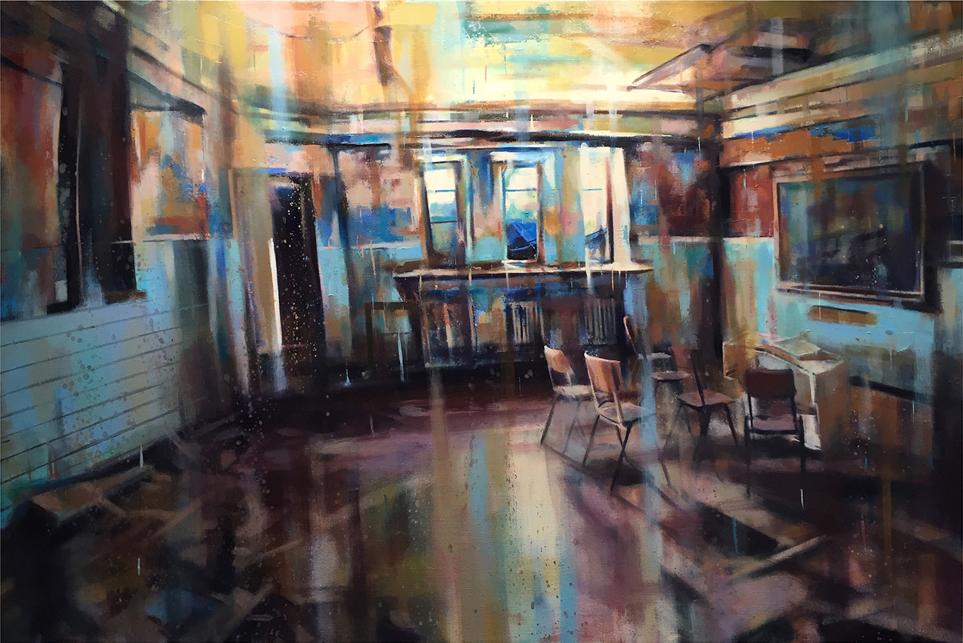 "Interior, Oil on Linen (32"" x 48"")"