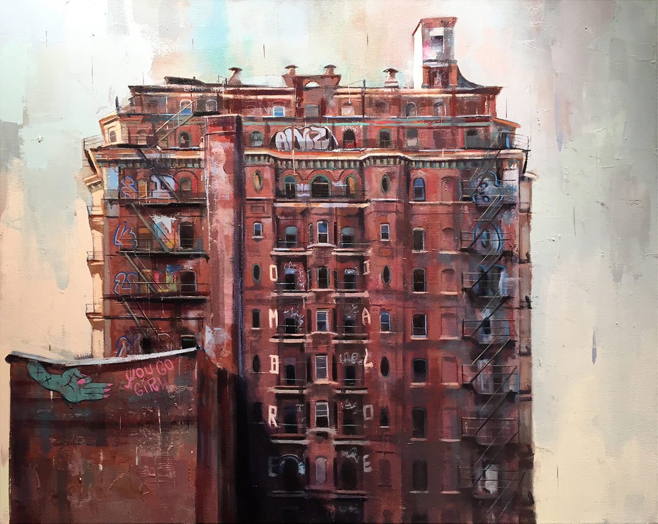 "Tag (The Divine Lorraine Hotel), Oil on Canvas (24"" x 30"")"