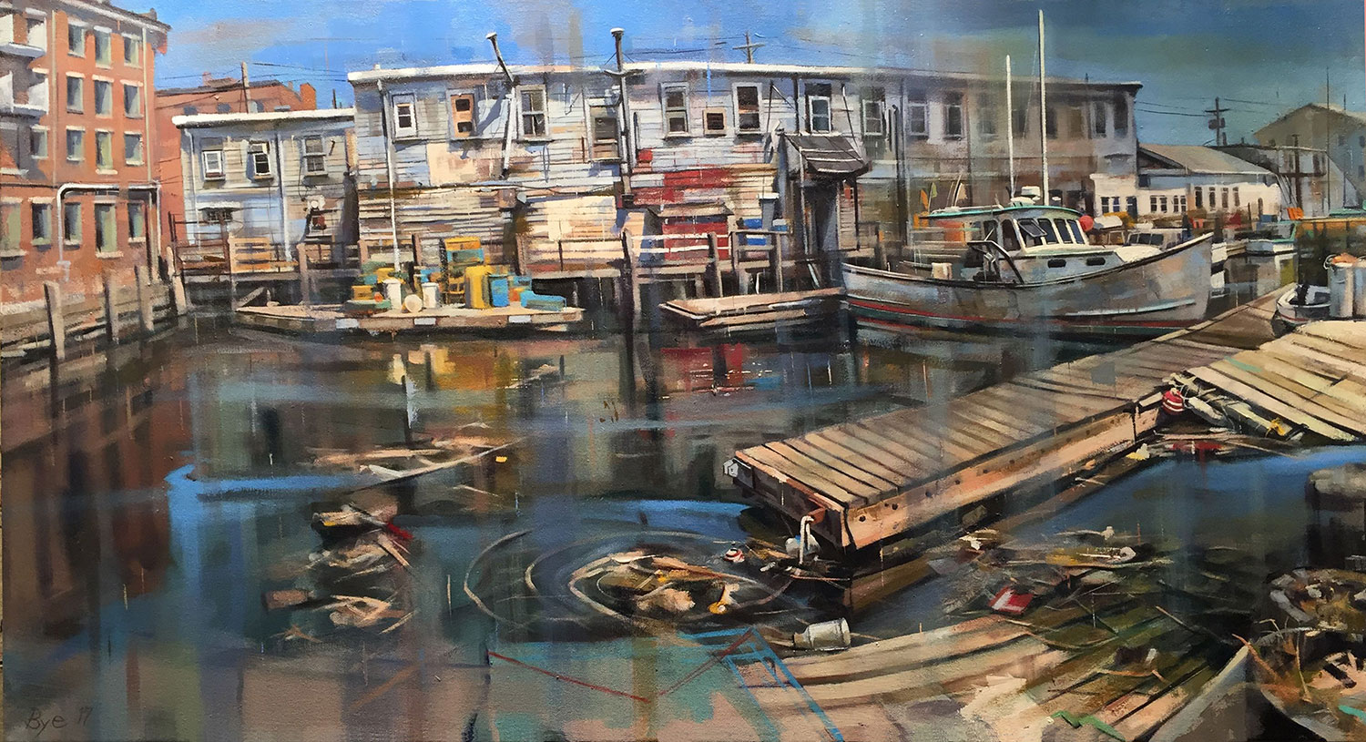 Harbor Fish Market, Oil on Linen (25 x 48)