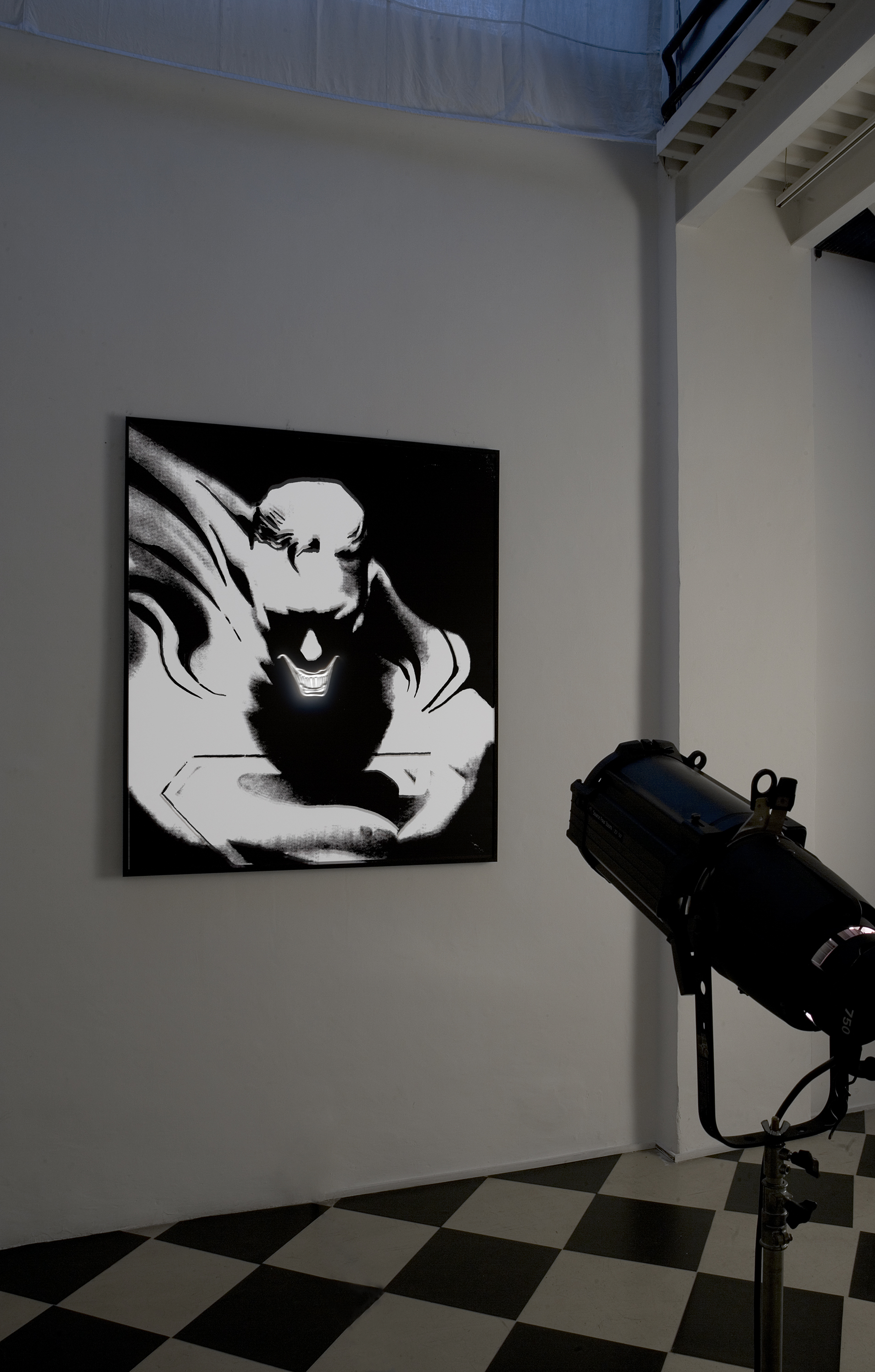 DON'T FORGET THE JOKER 3 , 2006 . Print on pvc and projection. Print : 166x150x5 cm. Photo: Claudio Abate