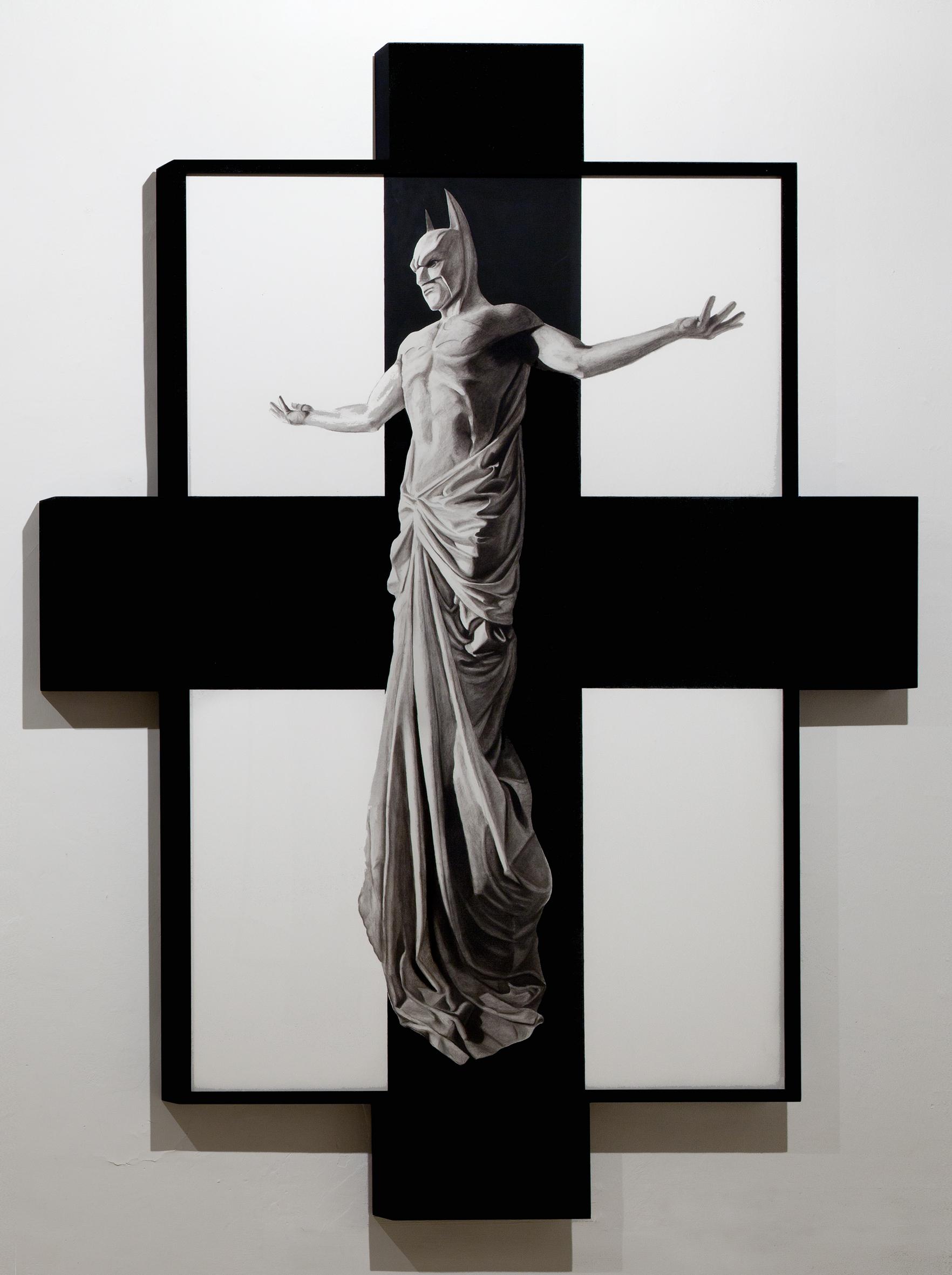 In Excelsis 1 , 2011 . Charcoal, paper, wood, enamel paint, 280x200x7 cm. Photo: Claudio Abate