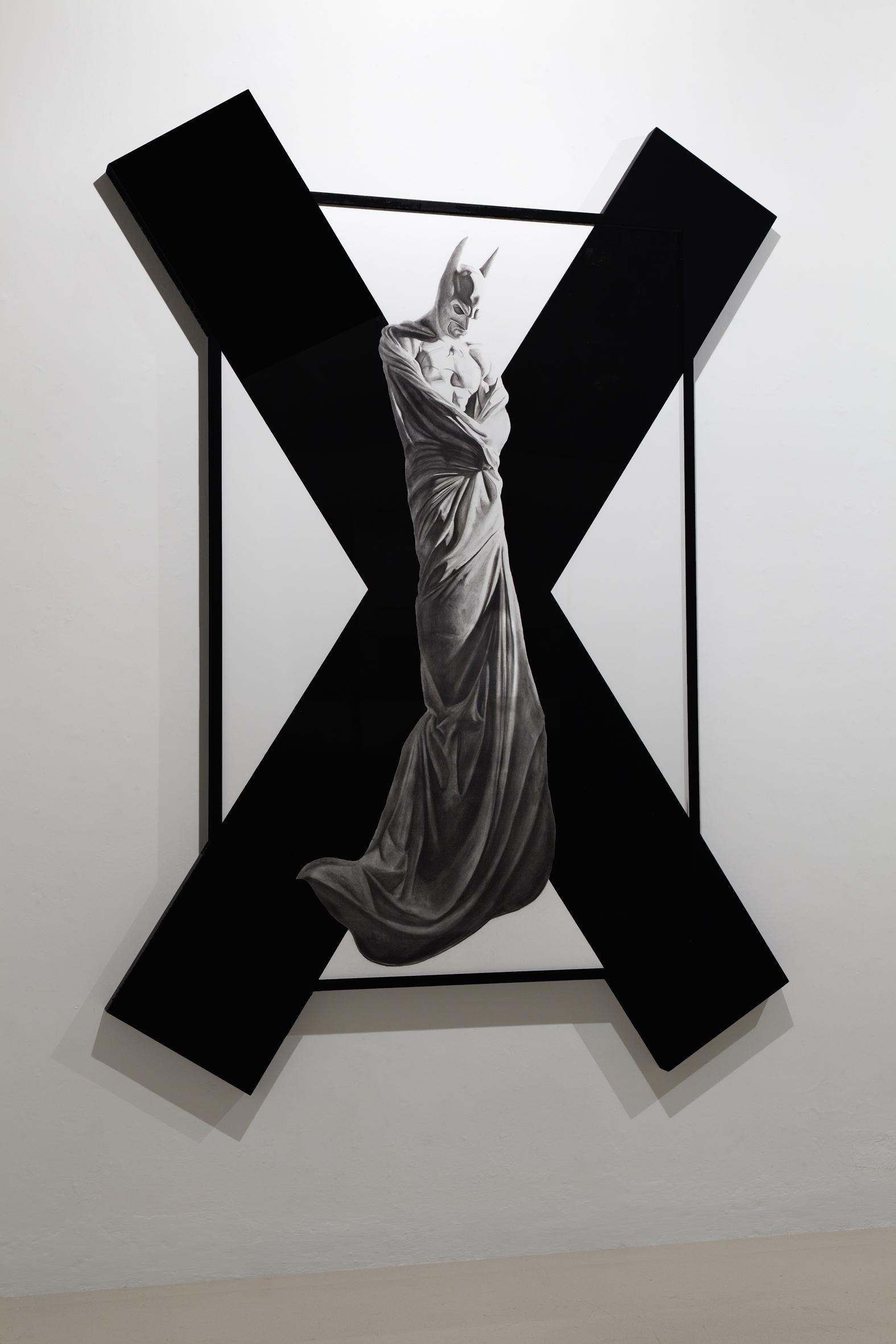 In Excelsis 2 , 2011 . Charcoal, paper, wood, enamel paint, 280x200x7 cm. Photo: Claudio Abate