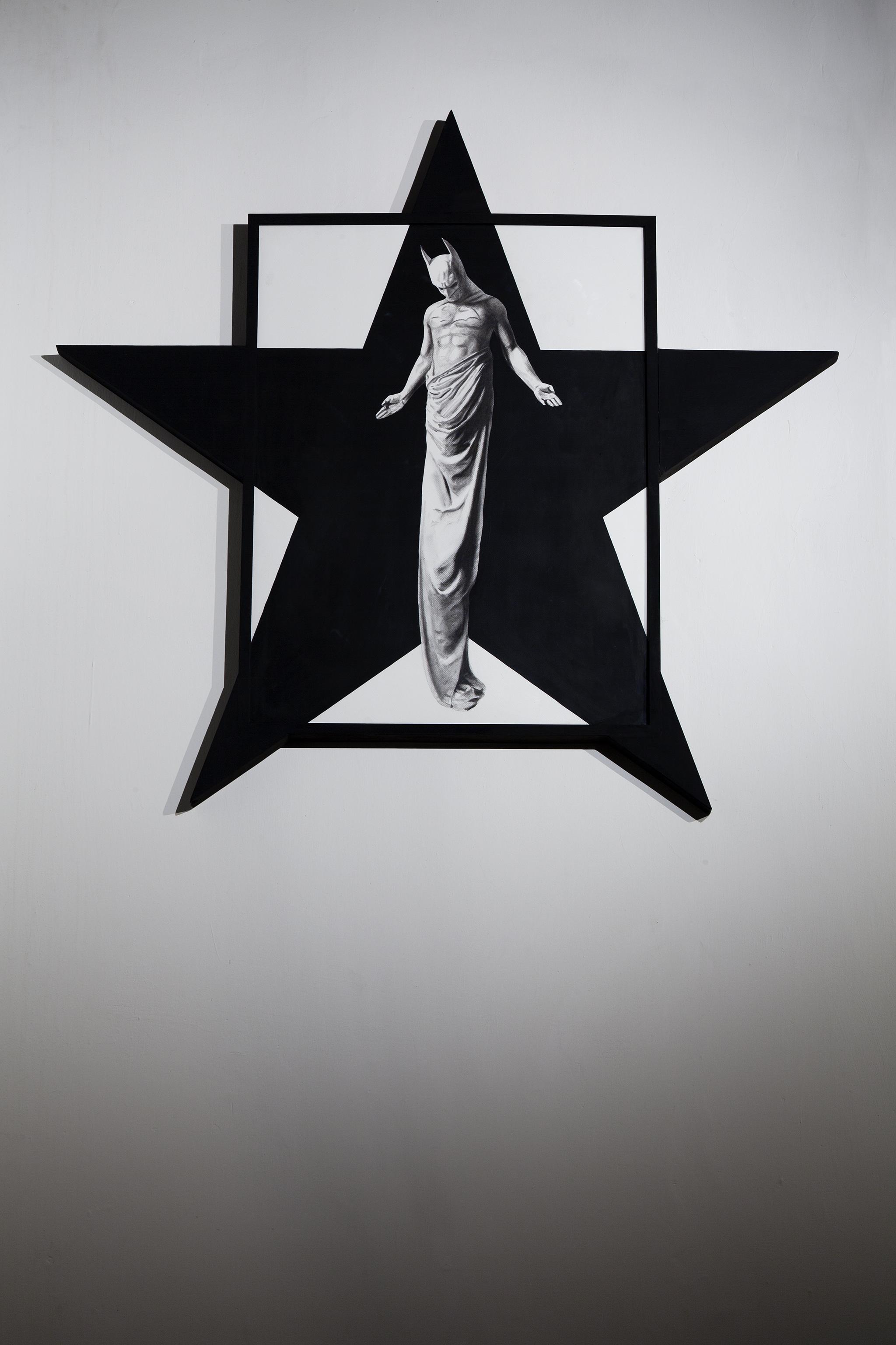 In Excelsis 3 , 2011 . Charcoal, paper, wood, enamel paint, 120x119x 5 cm. Photo: Claudio Abate
