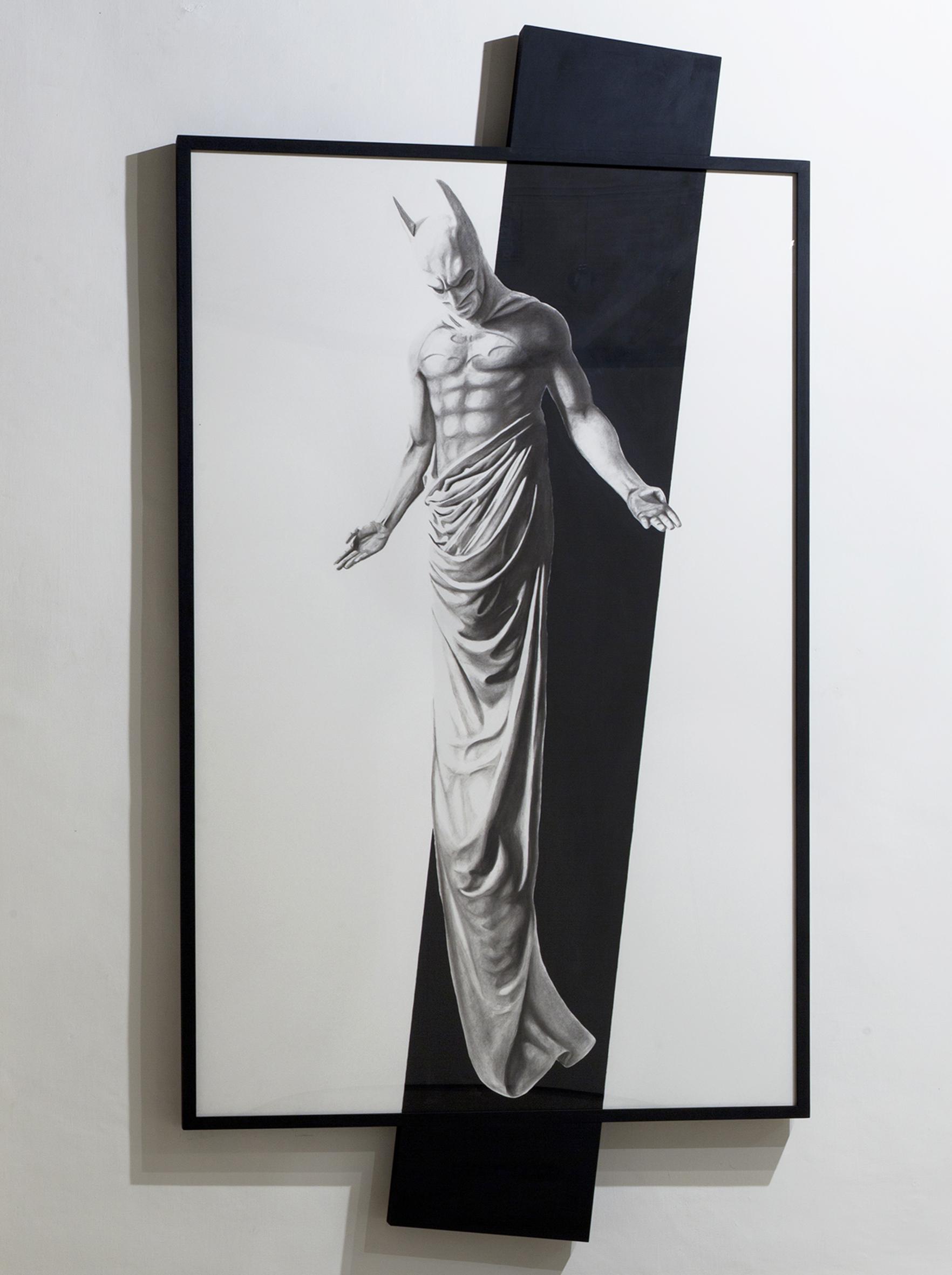 In Excelsis 3 , 2011 . Charcoal, paper, wood, enamel paint, 280x144x7 cm. Photo: Claudio Abate