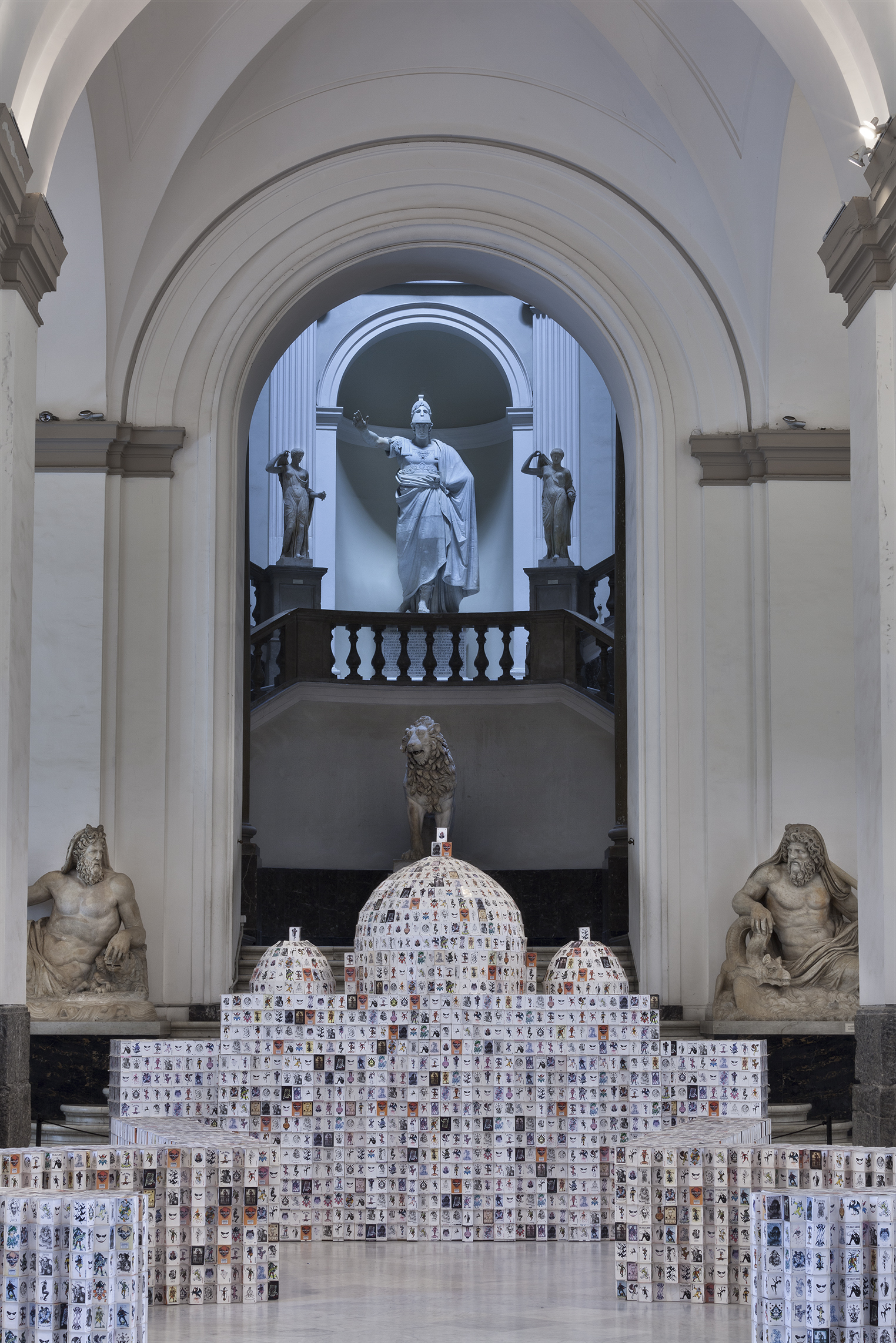 All Is Violent, All Is Bright , 2009 . MANN - Museo Archeologico Nazionale di Napoli, Naples 2016.. 50000 playing cards and wood, 300x590x980 cm. Installation view. Photo: Claudio Abate