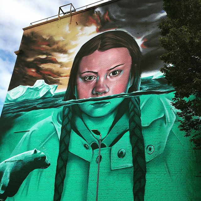 Great bit of art at the tobacco factory wall by Aldi Bedminster Bristol. #gretathunberg