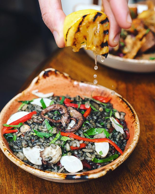 Arroz de Polvo: slowly braised Iberian cold-water octopus, pickled garlic and vegetables, served with charred lemon  It's not just about chicken at Casa do Frango 🐙 #casadofrango #londonbridge