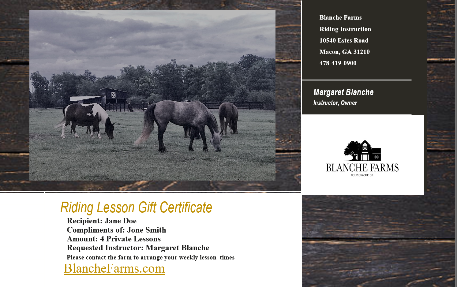 Gift Certificates - $45 Introductory Single Lesson$160 Monthly Lesson 4 PackRiding Year Round, all AbilitiesCall or Text Margaret at 423-496-1070=