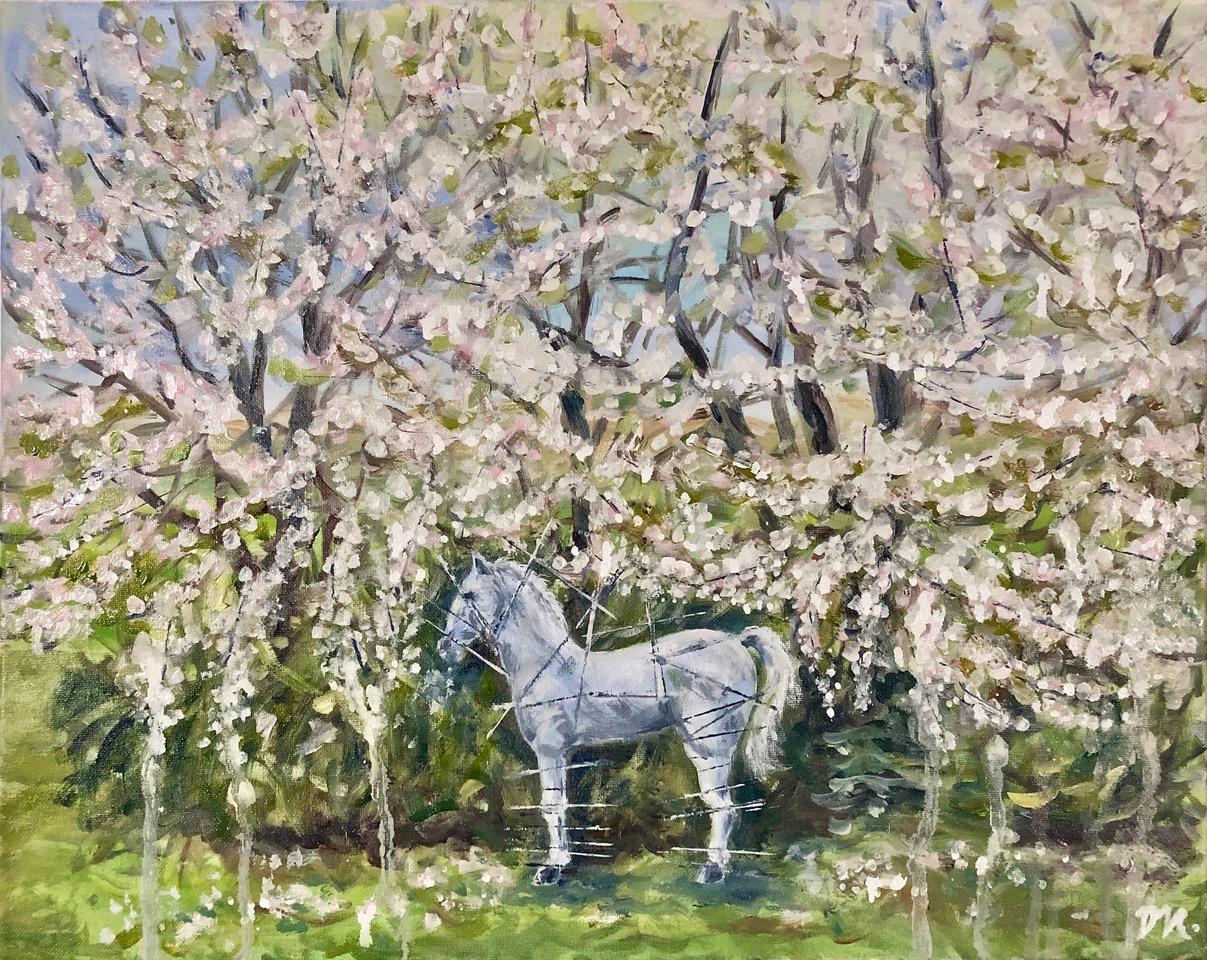 Leonardo Da Vinci's horse in White Blossom
