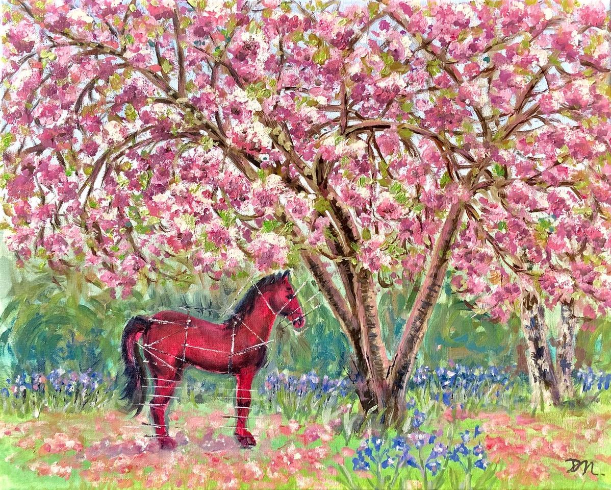 Leonardo Da Vinci's horse in Pink Blossom