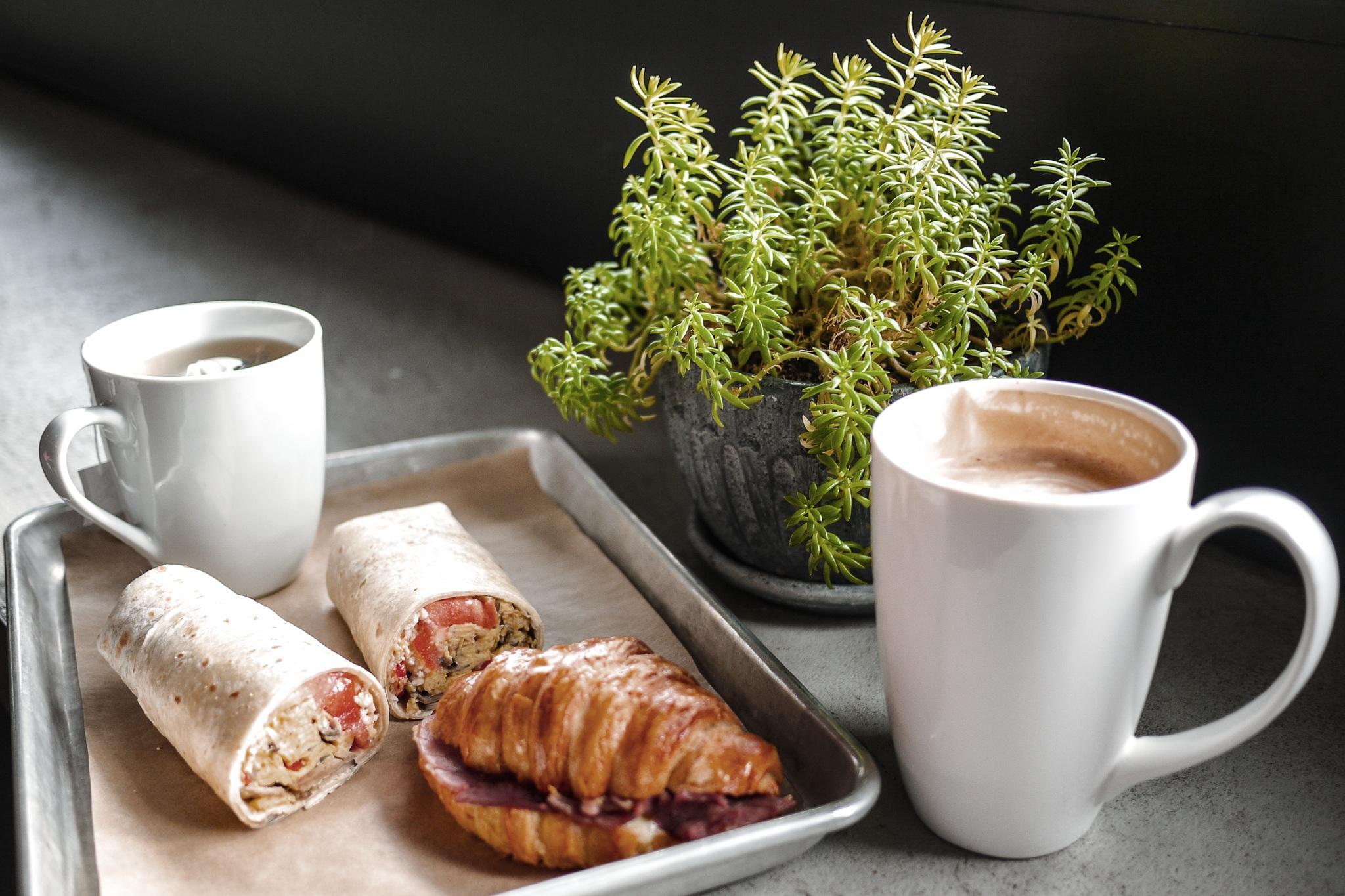 Latte, Breakfast Burrito, Ham Croissant at Caboose Commons