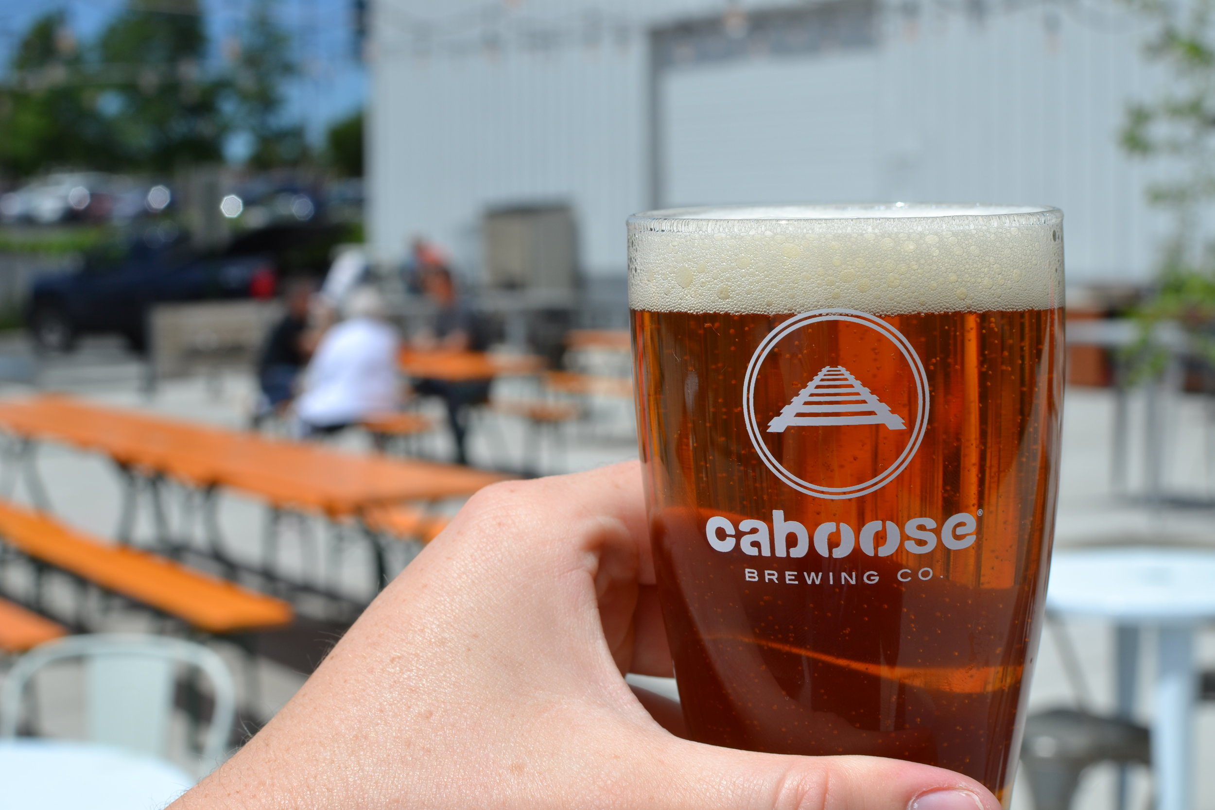 Wolf Trap Summer Ale on Caboose Commons Patio