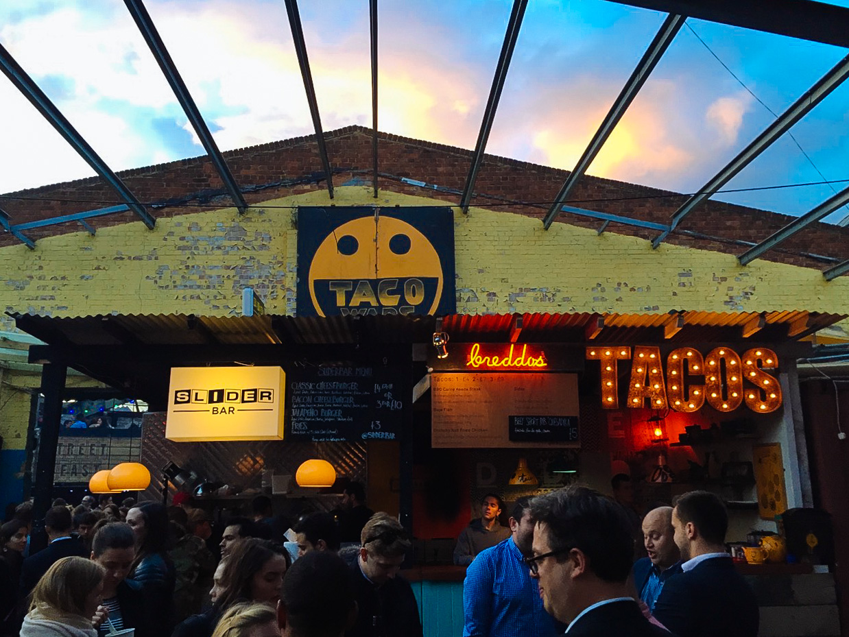 Slides and Tacos at Street Feast Dalston Yard