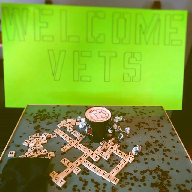 WELCOME VETS! Not only do you get a free shot of espresso with your order every Monday, but @ 9:00am we are hosting Veteran's Coffee Hour where veterans get any size coffee for $1.00 every week.  #specialtycoffee #kissmecoffee #scrabble #veteranappreciation