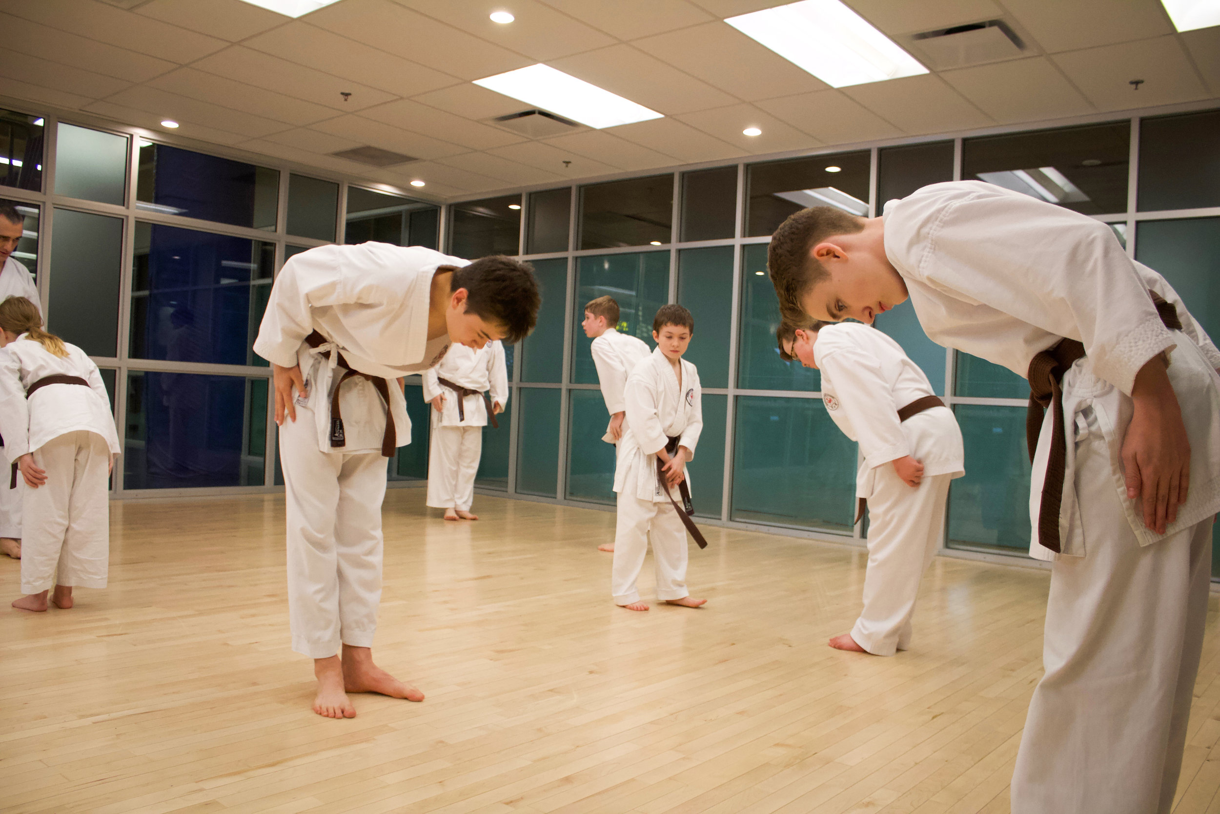 Niju Kun - In addition to the Dojo Kun, Master Gichin Funakoshi also outlined the twenty precepts of which ever student should strive to follow:1. Karate begins with a bow and finishes with a bow— Karate-do wa rei ni hajimari rei ni owaru koto a wasaru na2. In karate, never attack first— Karate ni sente nashi3. One who practices karate must follow the way of justice- Karate wa, gi no taske4. Know yourself first, then you can know others— Mazu onore o shire, shikashite ta o shire5. Spirit and mind is more important than technique— Gijitsu yori shinjitsu