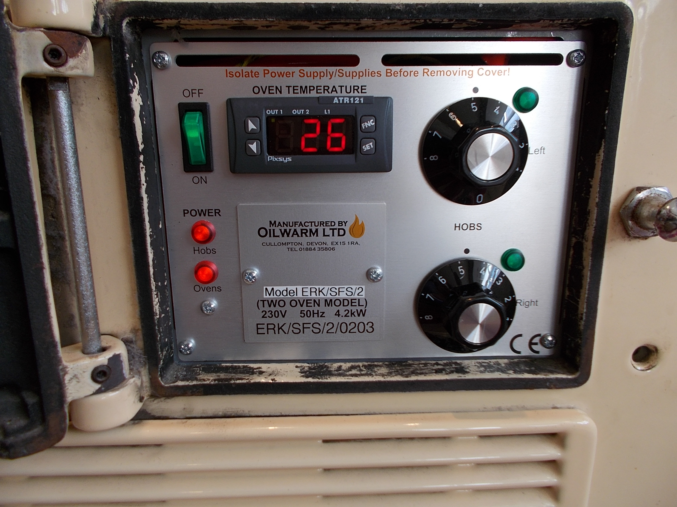 Control panel for a former solid fuel Standard aga (2 oven)