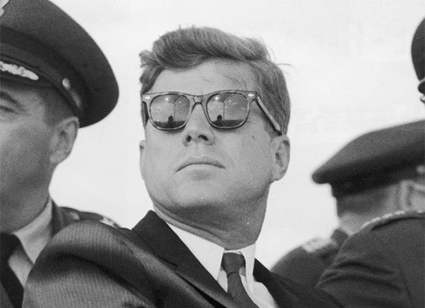 President John F. Kennedy pulling off the Ray Ban Wayfarer.