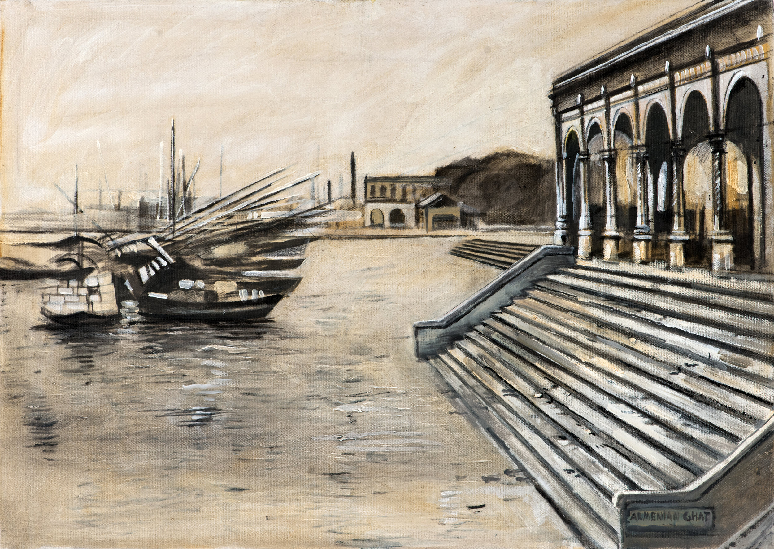 Armenian Ghat, Calcutta , Ararat Sarkissian,2018, oil on canvas, 65 x 46 cm   The Armenians were established in Bengal in 1646. After the foundation of Calcutta, the Armenians settled here, and in 1707, founded the Armenian Church of the Holy Nazareth. Now there are three Armenian churches in the city. In 1821 the Armenian Humanitarian Seminary was founded in Calcutta, which still functions.It played a major role in the education of the Armenians. Among the Armenian communities in India, Calcutta became the largest, and a small Armenian community exists today.  As in many cities where Armenians settled, there is an Armenian Street. The Armenian presence in Calcutta was very obvious in the early twentieth century. Edifices including Galstaun Park (now the Nizam Palace), Galstaun Mansion, Stephens Court, Park Mansions and the Grand Hotel (now the Oberoi Grand) reflected the wealth of individuals from Isfahan such as J.C. Galstaun, Arathoon Stephen and T. M. Thaddeus.  The Armenian Ghat is of special mention, built by Manvel Hazaar Maliyan in 1734. This elegant construction made of cast iron stands on the Hoogley River bank, in vicinity of the flower market. It maintained its significance until the construction of a bridge over the river in 1874. Unfortunately, this magnificent building is now almost forgotten.