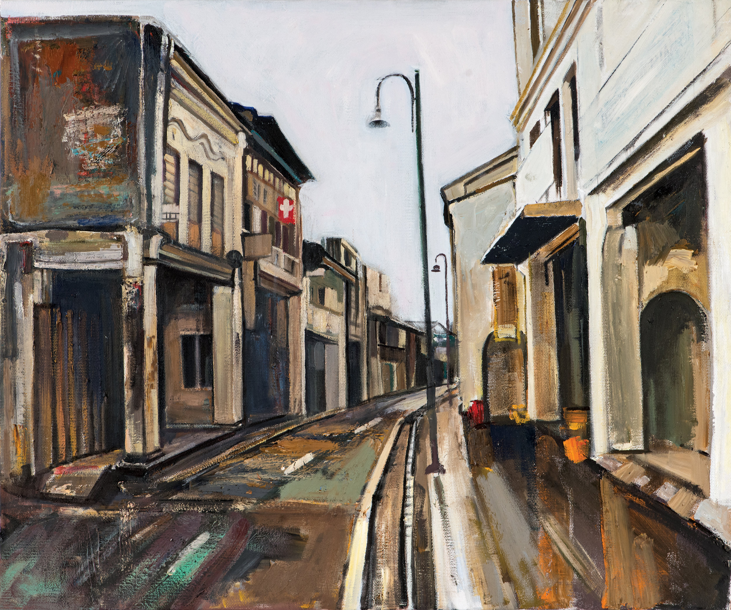 Armenian Street, Georgetown , Ararat Sarkissian,2018, oil on canvas, 65 x 54 cm   The Armenians came to the island of Penang, Malaysia, at the end of the 18th century. Today the city's Armenian Street (Lebuh Armenian), which is located within the city's UNESCO World Heritage Site, is a popular tourist destination.  The small number of Armenians in Penang were mainly merchants and hoteliers. The well-known Sarkies brothers established the Eastern and Oriental Hotel (The E&O) and later they ran the Crag Hotel. Dr Thaddeus Avetoom founded the Georgetown Dispensary, and Anthony A. Anthony established an export firm, whose name still exists, as does the E&O and the Dispensary.  The Armenian Apostolic Church of St. Gregory the Illuminator in Bishop Street was established through the efforts of philanthropists Carapiet Arackell and Catchatoor Galstaun. The Church was demolished in 1909 and a monument was erected to commemorate it. In the 1930s, it too was demolished and the remains of Armenians buried in the cemetery were re-interred in a special plot in the Western Road cemetery.