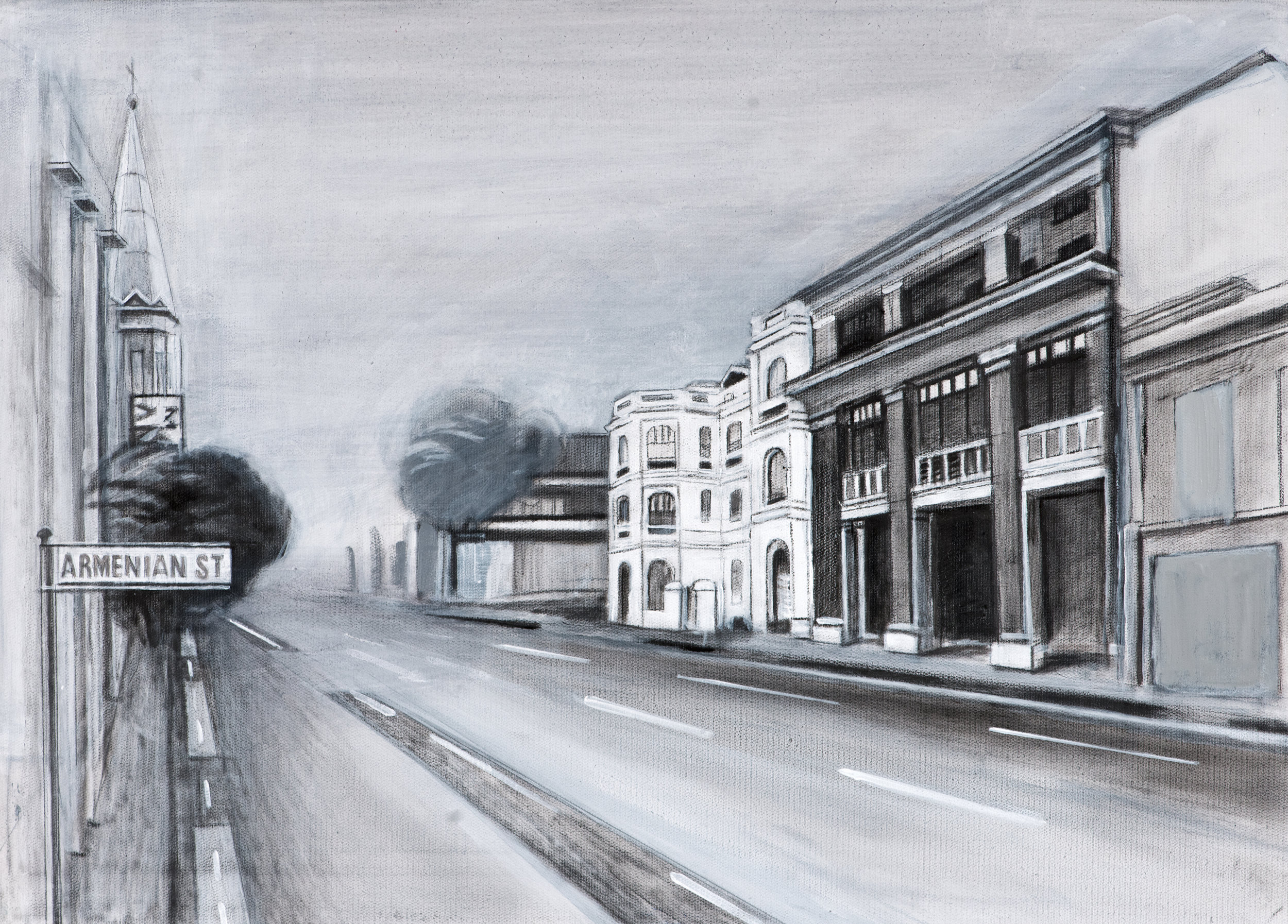 Armenian Street, Singapore , Ararat Sarkissian,2018, oil on canvas, 65 x 46 cm   In 1819 Singapore was established as a British trading post. Armenian merchants from around the region soon recognised the prospects of this port and established a small community, which has never exceeded 100 residents. Though small, the Armenian community has had a great impact on Singapore. In 1835 the community erected the Armenian Apostolic Church of St. Gregory the Illuminator; it is the oldest Christian church in Singapore and was designated as a national monument in 1973.  The world's first cultivated orchid hybrid was bred by Ashkhen Hovakimian (Agnes Joaquim) in the 1880s and carries her name. In 1981 the  Vanda Miss Joachim Orchid was proclaimed as Singapore's national flower.  Today, Singapore's Raffles Hotel is a part of a large chain of Raffles international hotels. The hotel was opened in 1887 and was managed by Tigran Sarkies. The Sarkies brothers - Martin, Tigran, Aviet, and Arshak, originally from Isfahan in Persia, became the leading hotel owners in the East with properties in Myanmar, Malaysia and Singapore.   The Straits Times is currently the most widely-read newspaper in Singapore and one of the oldest English-language newspapers in the region. It was established in 1845 by Catchick Moses (Movsessian).  Armenians were significant landowners in Singapore and constructed many buildings in the city such as Stamford House which still stands. Singapore has an Armenian Street as well as three other streets named after Armenians: Galistan Avenue, Sarkies Road and St Martin's Drive.