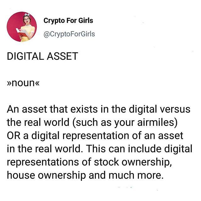Word of the Day: Digital Asset 📧#cryptoforgirls#wordoftheday #asset . . . . . #crypto#cryptocurrency#fintech#finance#blockchain#bitcoin#blockchaintechnology#cryptocurrencies#currency#investing#investor#trading#tech#technology#learning#educate#todayilearned#guides#girlboss#bossbabe#womeninstem#girlsinstem#girlpower