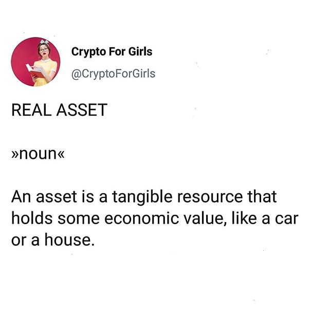 Word of the Day: Real Asset 💎#cryptoforgirls#wordoftheday #asset . . . . . #crypto#cryptocurrency#fintech#finance#blockchain#bitcoin#blockchaintechnology#cryptocurrencies#currency#investing#investor#trading#tech#technology#learning#educate#todayilearned#guides#girlboss#bossbabe#womeninstem#girlsinstem#girlpower