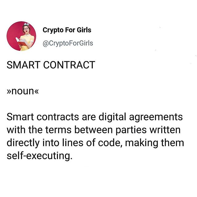 """Word of the Day: Smart Contract 📜 #cryptoforgirls #wordoftheday #smart . Smart contracts are really just a simple line of code that says, """"If you do X, I'll do Y."""" Because they self-execute, they make trust in transactions much easier - like putting money into a vending machine and automatically receiving your pop. Once an agreement has been made with a smart contract, it's set in digital stone. . One of the coolest things about  blockchain is that there's no need to pay middlemen to enforce agreements and settle conflicts. It saves everyone's time and money! . . . #crypto #cryptocurrency #fintech #finance #blockchain #bitcoin #blockchaintechnology #cryptocurrencies #currency #investing #investor #trading #tech #technology #learning #educate #todayilearned #guides #girlboss #bossbabe #womeninstem #girlsinstem #girlpower"""