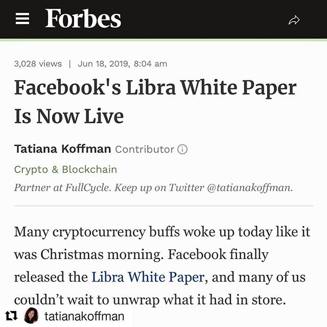 """Many cryptocurrency buffs woke up today like it was Christmas morning. Facebook finally released the Libra White Paper, and many of us couldn't wait to unwrap what it had in store."" . Well, we certainly aren't saying no to a mid-summer Christmas! 💃 Our founder @tatianakoffman has taken up the mantle of Crypto Santa, bestowing the gift of this newbie-friendly breakdown of Facebook's new crypto currency, Libra. Head to her bio for the TL;DR 👯✨💋"