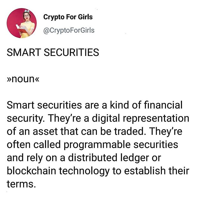Word of the Day: Smart Securities 🤓 #cryptoforgirls #wordoftheday #smart . . . . . #crypto #cryptocurrency #fintech #finance#blockchain #bitcoin #blockchaintechnology#cryptocurrencies #currency #investing #investor#trading #tech #technology #learning #educate#todayilearned #guides #girlboss #bossbabe#womeninstem #girlsinstem #girlpower