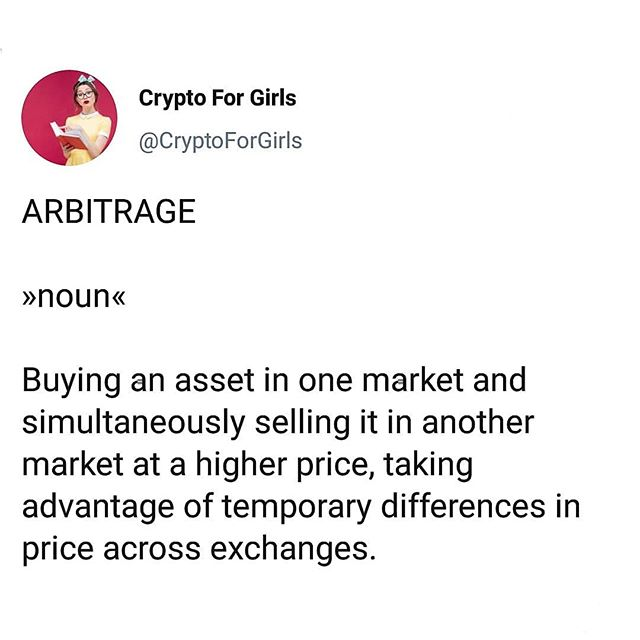 Word of the Day: Arbitrage 💼 #cryptoforgirls #wordoftheday . . . . . #crypto #cryptocurrency #fintech #finance#blockchain #bitcoin #blockchaintechnology#cryptocurrencies #currency #investing #investor#trading #tech #technology #learning #educate#todayilearned #guides #girlboss #bossbabe#womeninstem #girlsinstem #girlpower