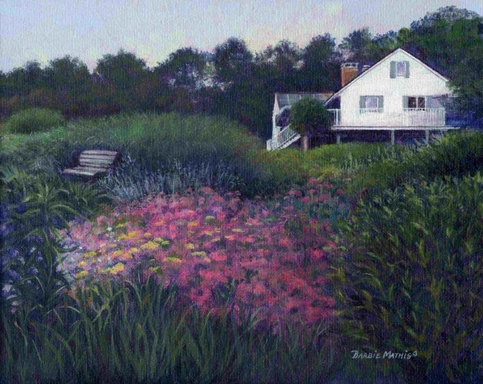 """""""Perry and John's Garden"""", 8"""" x 10"""", Original Golden Acrylic on Canvas by Barbie Mathis."""