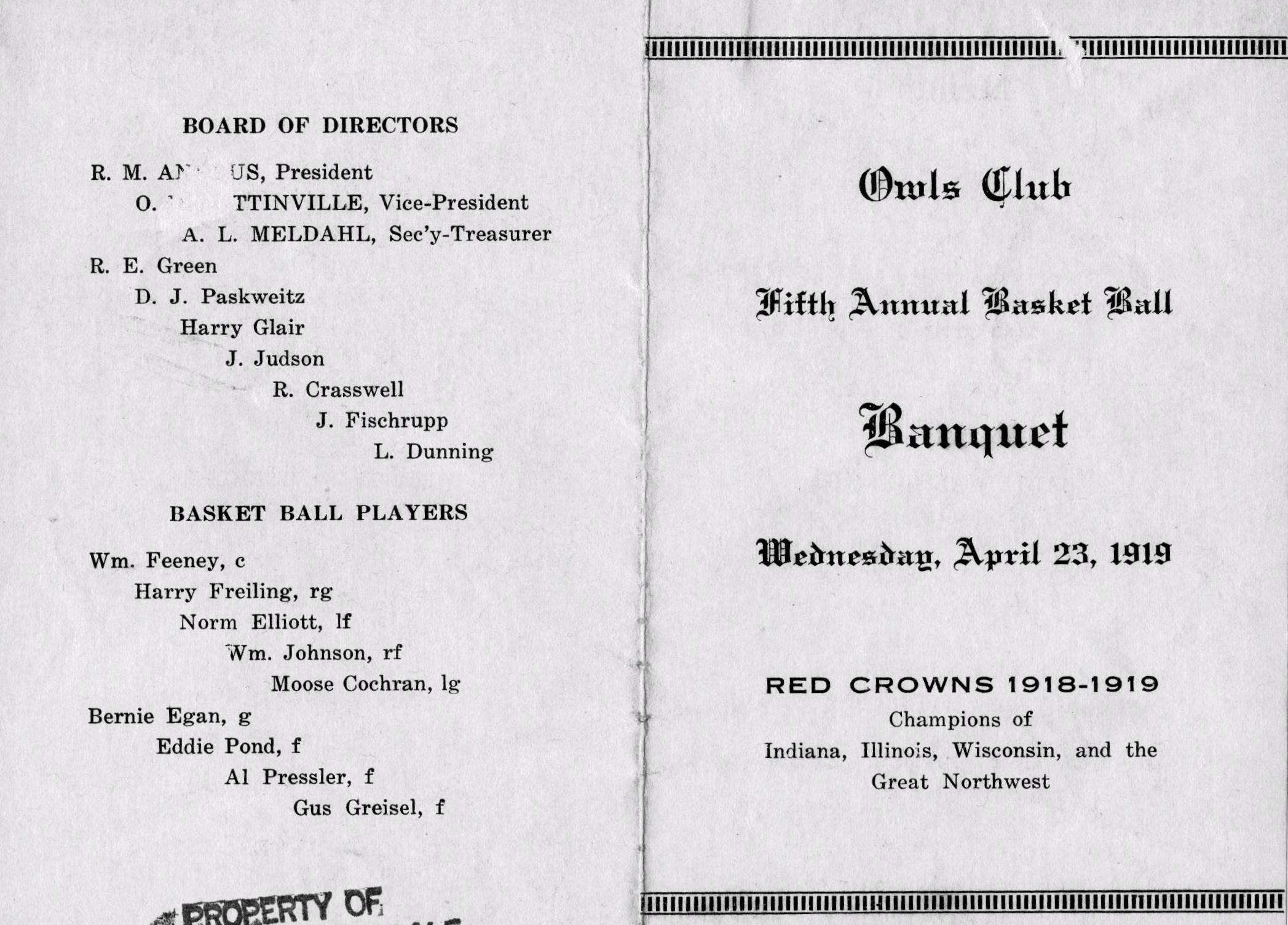 Owls banquet menu outside 1919.jpg