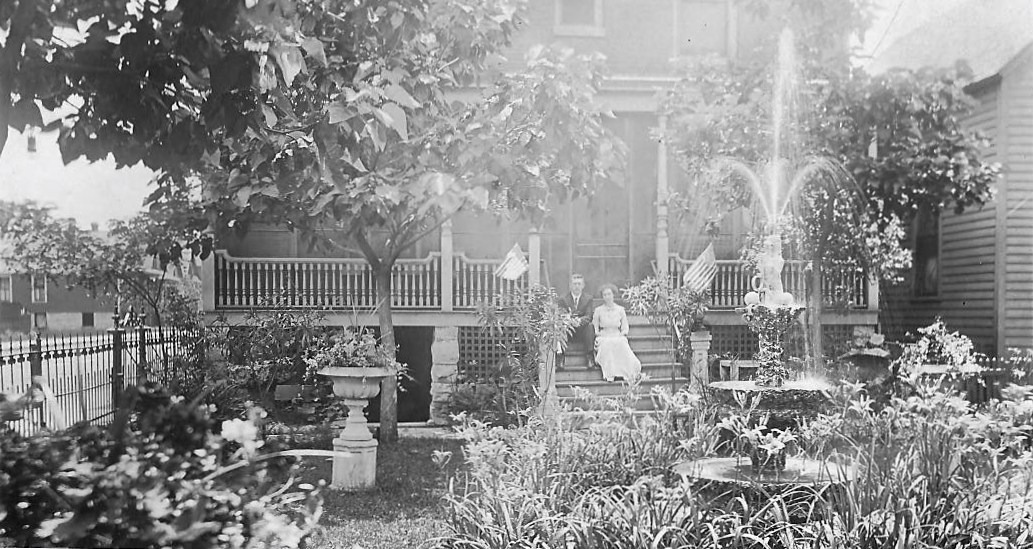 This is the yard at the Biesen Home, a building which still stands at the northwest corner of New York Avenue and Fred Street. This photo from the early 1900s shows Dr. Chauncey M. Gillespie and Alexis Biesen Gillespie.